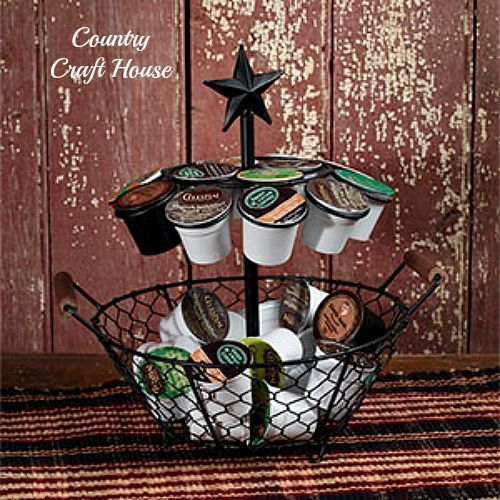 New Primitive Country Black Star Coffee K- Cup Basket Holder Double Caddy…