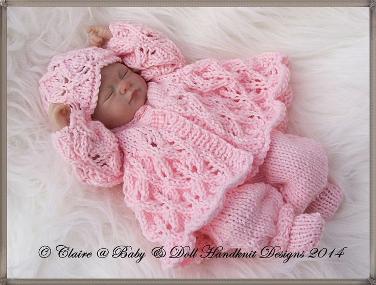 "Lacy Winter Pram Set 7-12"" doll-knitting pattern, reborn, doll, pram set, lacy, babydoll handknit designs"