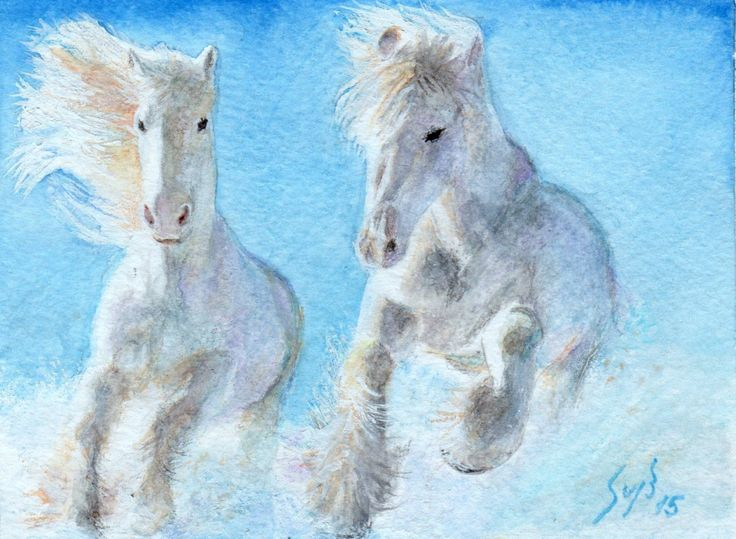 White horses running in the snow Water Color
