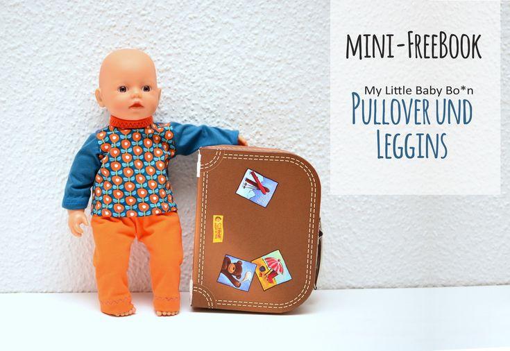 Freebook Schnittmuster Pulli und Leggins für My Little Baby Born oder andere 32 cm (30 - 35 cm) Puppe.  Free Pattern