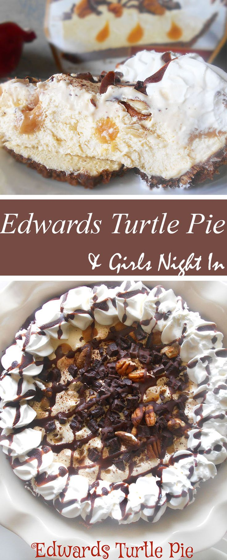IEdwards Turtle Pie is the perfect pie for a girls night in. They are decadent and comforting. It makes even the dullest person in the world turn wild