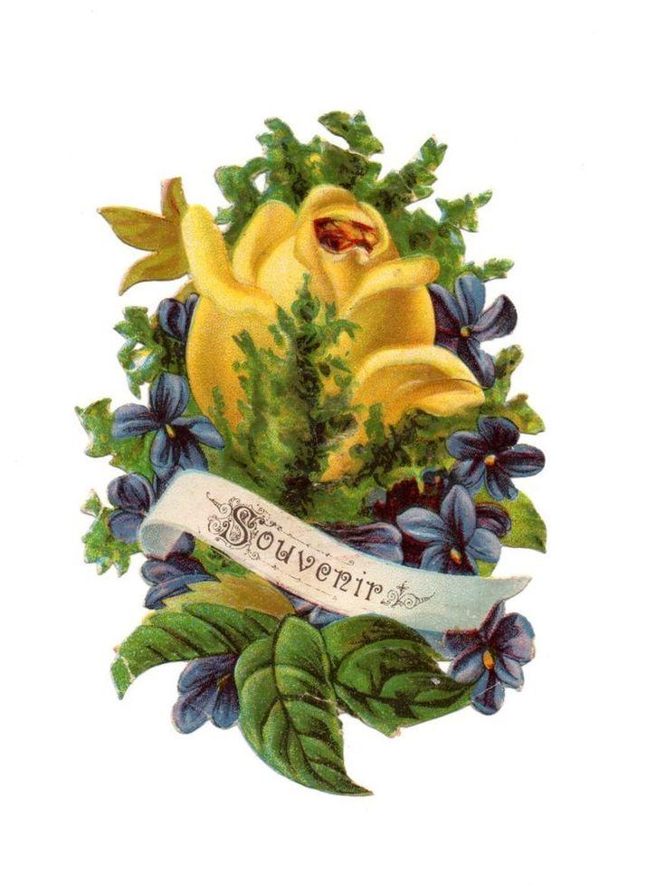 schöne alte Oblate  scrap die cut chromo -  schöner Blumenstrauß  (92)