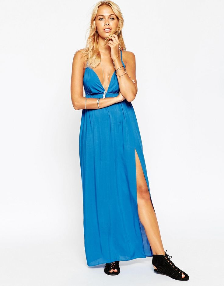 Image 1 of ASOS Deep Plunge Maxi Beach Dress