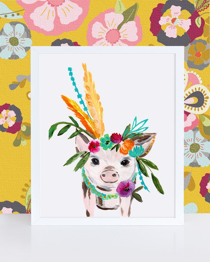 Add a pop of whimsy and color to your decor with a limited edition little piggy art print. Personally signed by Bari J. Printed on luxe heavy weight archival paper made to last. For the safest shippin