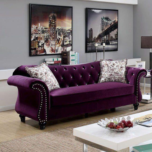 Jolanda Sofa Plum In 2020 Purple Furniture Living Room