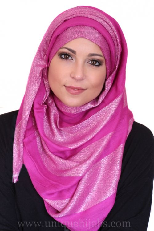 Long Hijab Striped Shimmer-Purple