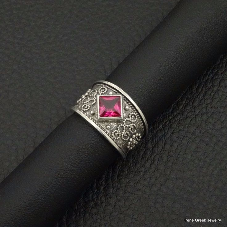 BIG RARE PINK RUBY CZ BYZANTINE STYLE 925 STERLING SILVER GREEK ART RING #IreneGreekJewelry #Band