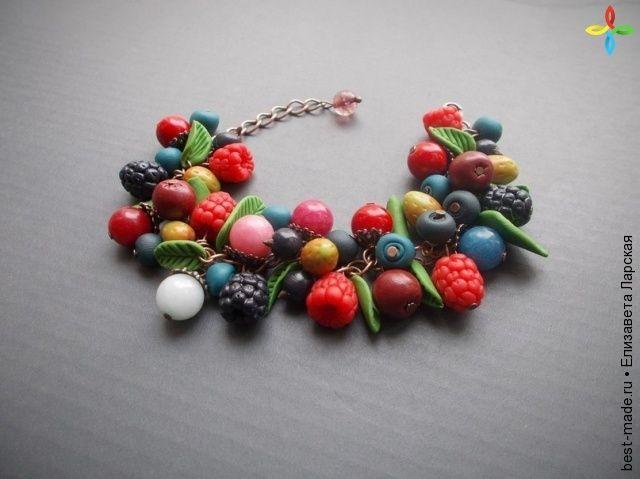 Браслет с ягодками из полимерной глины, Полимерная глина,   Bestmade - изделия ручной работы