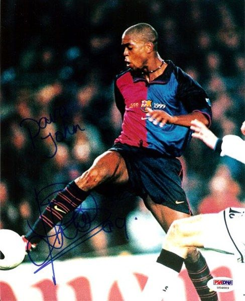 Patrick Kluivert Autographed 8x10 Photo Barcelona To John PSA/DNA