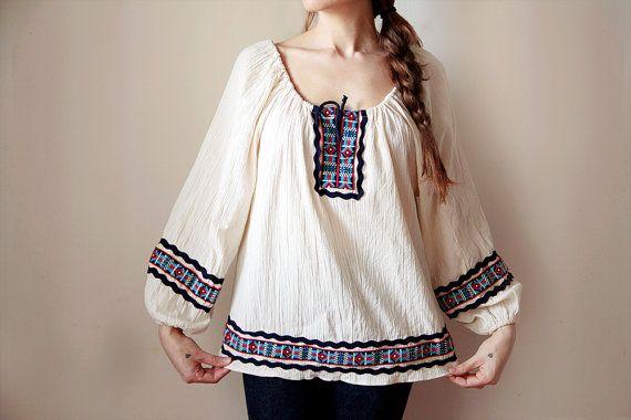 Casacca folk anni 70/ Blusa di cotone indiana/ Camicetta boho con ricami colorati