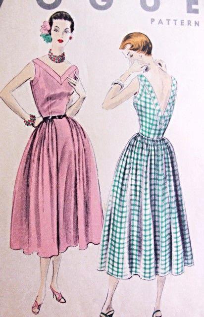 * <3 (neckline) 1950s Beautiful Dress Pattern Vogue 8010 Summer or Cocktail Party Dress V Necklines Full Skirt Bust 34 Vintage Sewing Pattern FACTORY FOLDED