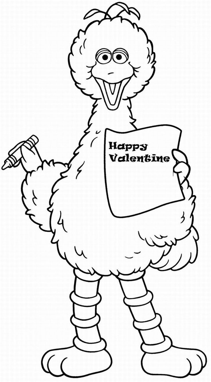 Free coloring pages elmo - Valentine Lrg Coloring Page For Kids And Adults From Cartoons Coloring Pages Sesame Street Coloring Pages