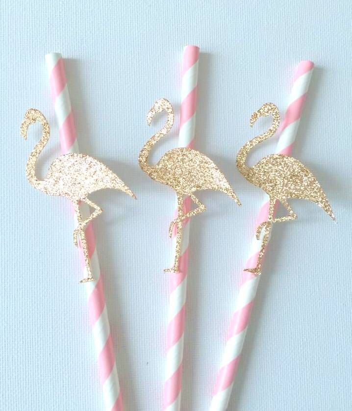12 Pink and bronze gold Flamingo paper straws - baby shower / birthday by Craftandababy on Etsy https://www.etsy.com/listing/248140404/12-pink-and-bronze-gold-flamingo-paper