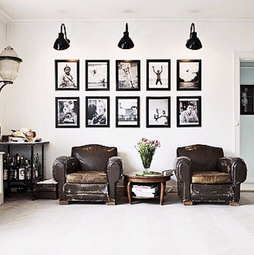 rustic lounge chairs, black and white art gooseneck lights