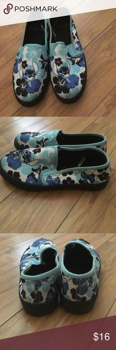 """Disney Lilo & Stitch slip on tennis shoes 6 Cute! These are so cute! Miss 13yo doesn't like them """"because the soles are black"""". Teenagers lol! Her loss is your gain. True to size. Like New. Disney Shoes Sneakers"""