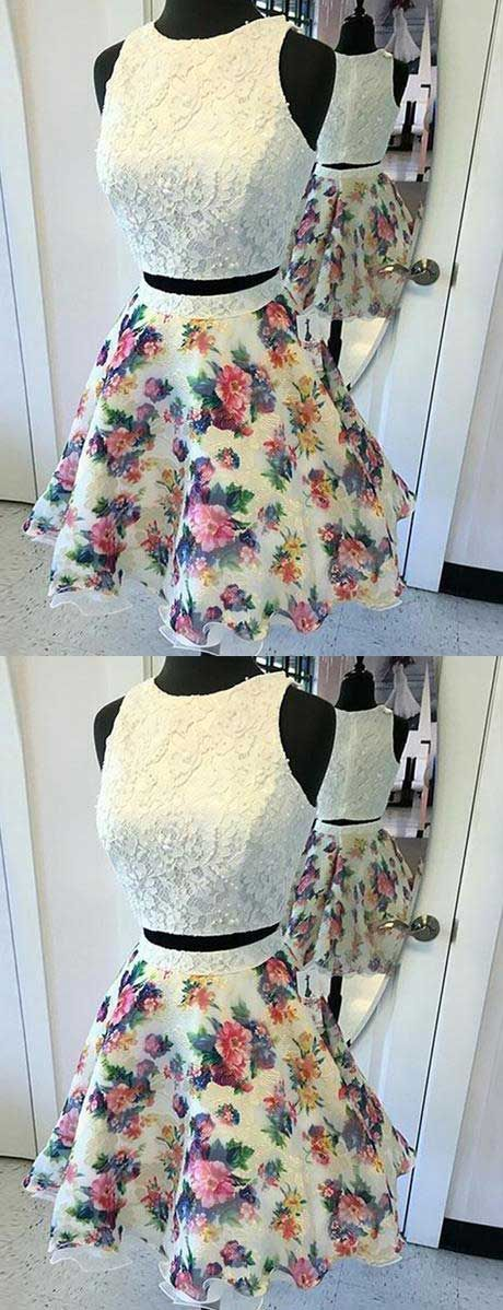 floral homecoming dresses,two pieces homecoming dresses,white lace homecoming dresses,vintage homecoming dress,cheap homecoming dresses short,short vintage dress,short prom dress,homecoming