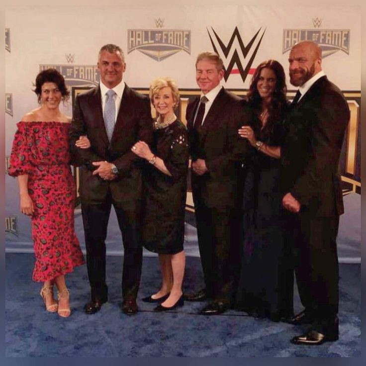 Vince McMahon, Linda McMahon, Shane McMahon, Marissa Mazzola McMahon, Paul Levesque (Triple H), and Stephanie McMahon Levesque before the 2017 WWE Hall of Fame ceremony in Orlando #WWE #WWEHOF #WrestleMania #wwecouples