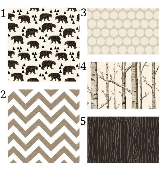 Woodland Bear Bedding Set, 3 Piece Tree Crib Set, Crib Sheet, Skirt, Dust Ruffle, Bumper, Rustic Hunting Boy or Gender Neutral Nursery