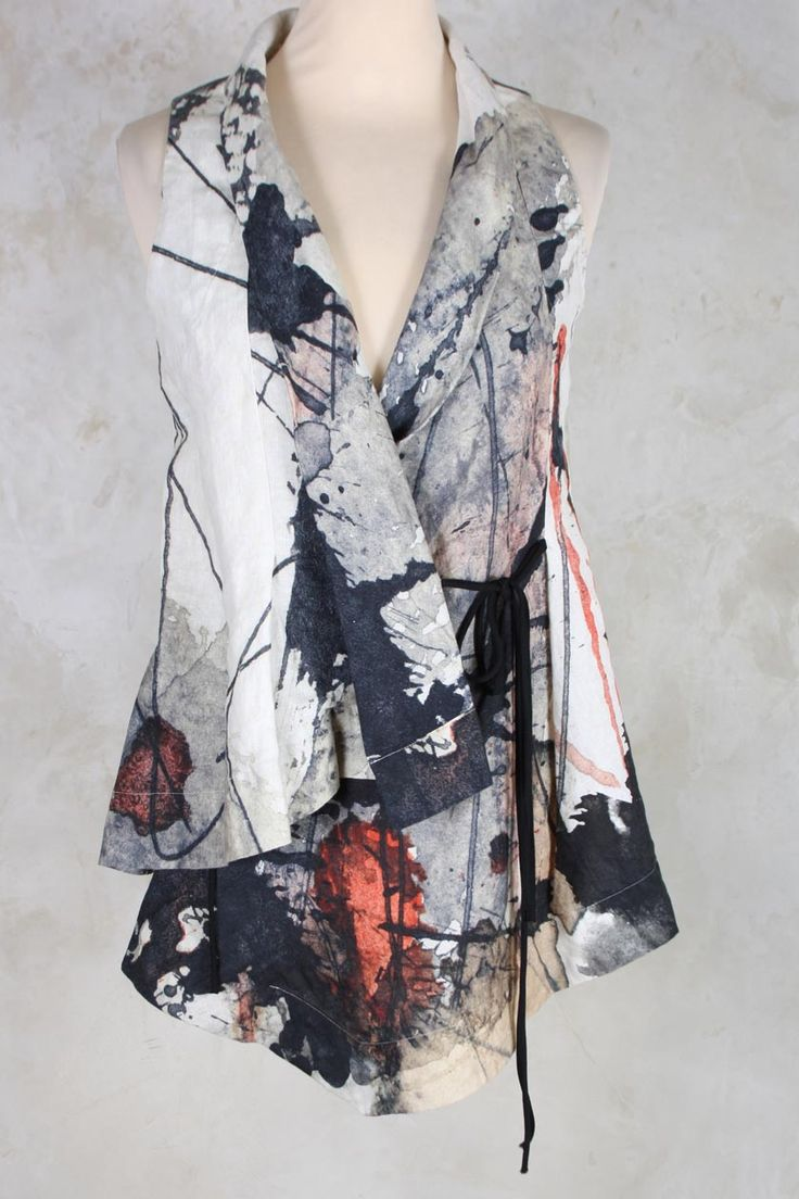 Linen Gilet with Tie Front in Watercolour Print - Crea Concept