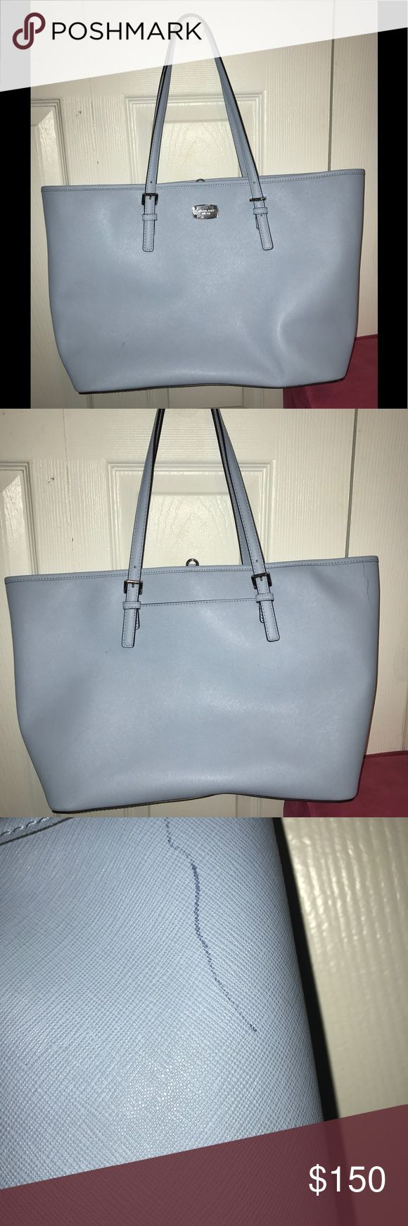Michael Kors Purse Michael Kors purse in light blue with tan interior. In good condition with minor pen stain shown in photos. Accepting offers. Michael Kors Bags Shoulder Bags