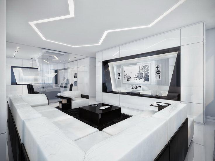 House DesignLuxurious Black And White Interior Design With Amazing Entertainment Center Enchanting
