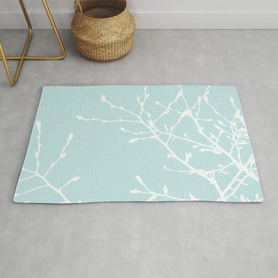 Light Blue Tree Branches Area Rug