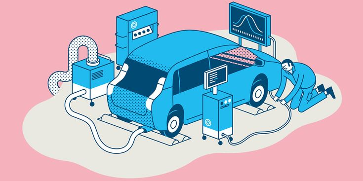 "Illustrations for a double page spread explaining how cars are being tested by TÜV Süd, one of Germany's most trusted technical certification service provider. Published in TÜV Süd's corporate magazine ""About Trust""."