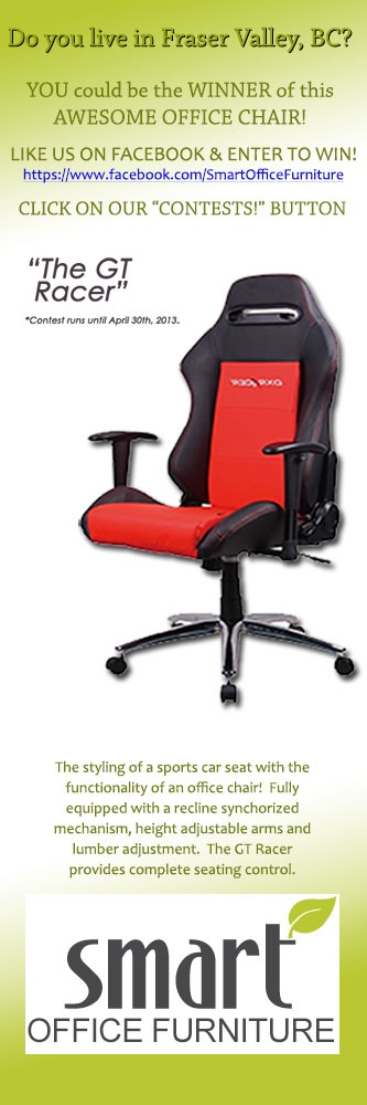 Followers from the Fraser Valley - Win this Office Racing Chair from Smart Office Furniture's head office!  Visit US on Facebook for more details! https://www.facebook.com/SmartOfficeFurniture/app_197602066931325