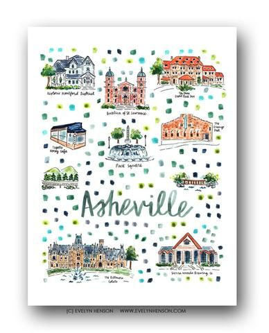 Asheville, NC Map Print