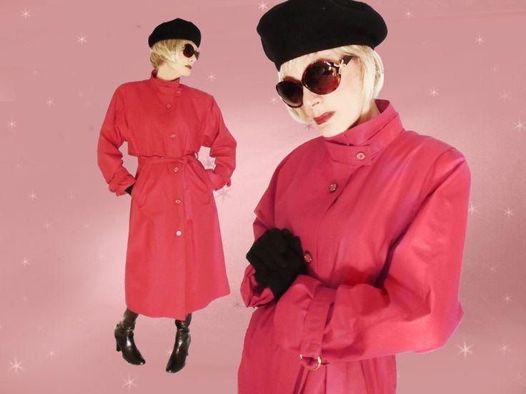 Vintage Red Raincoat - 80s London Fog Red Trench Coat - Midi length by LunaJunctionVintage on Etsy