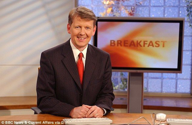 The presenter pictured when he first joined BBC breakfast in 2002, during his time on the show the studios moved from London to Manchester