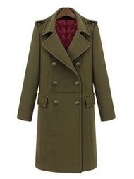 Fashion Long Turn-down Collar Double-breasted Woolen Coat