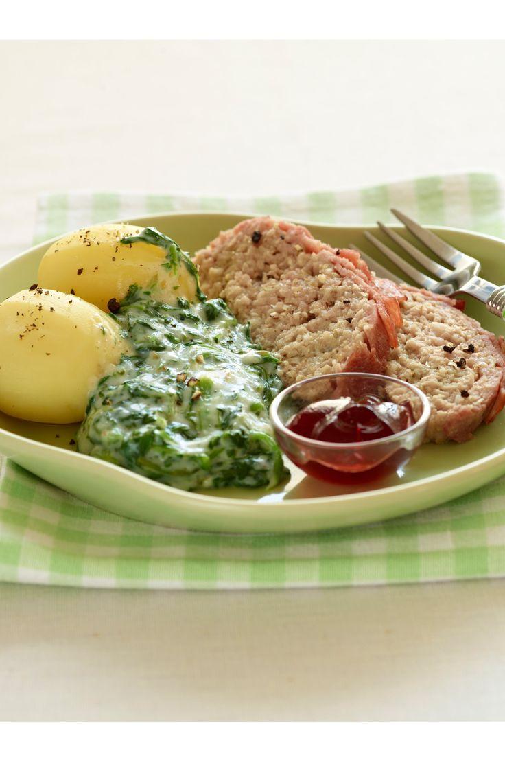 Forloren hare med kalv og flæsk, kalkunbacon og kartofler og stuvet spinat SlankeDoktor.dk