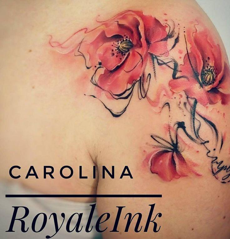 Poppy tattoo watercolor Carolina Avalle