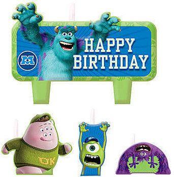 Monsters University Inc. Cake Candle Set 4ct by ElsaPartySupply on Etsy