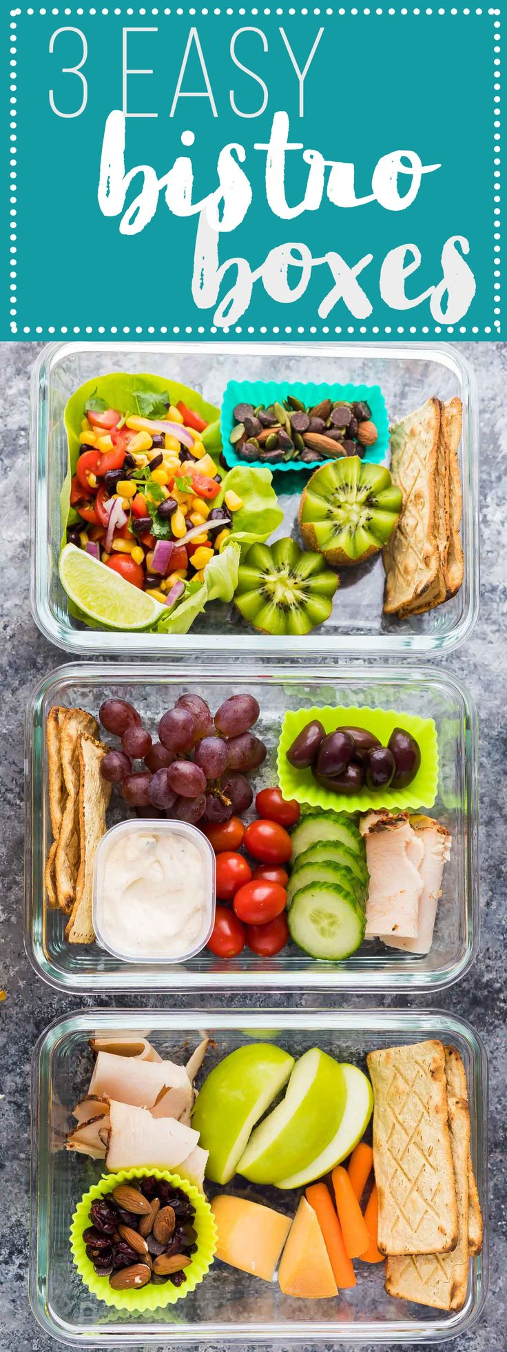 These easy bistro lunch boxes (including a yummy Mexican Black Bean Salad!) can be prepared ahead of time for an easy grab and go lunch!  A great meal prep option to mix things up through the week!