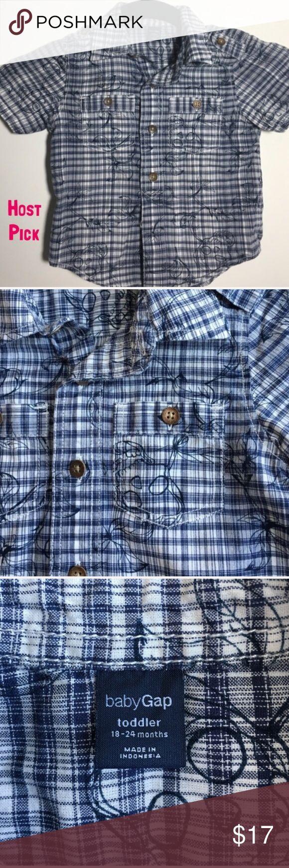 GAP skull short sleeve button down shirt ✨HP 12/22✨EUC!! Adorable boy's button down short sleeve shirt from baby gap. Skull and vine pattern. Looks so cute under a cardigan. GAP Shirts & Tops Button Down Shirts