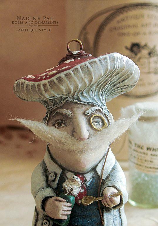 Купить Аптекарь месье Мухомор - елочная игрушка - елочная игрушка, коллекционная кукла, nadine pau
