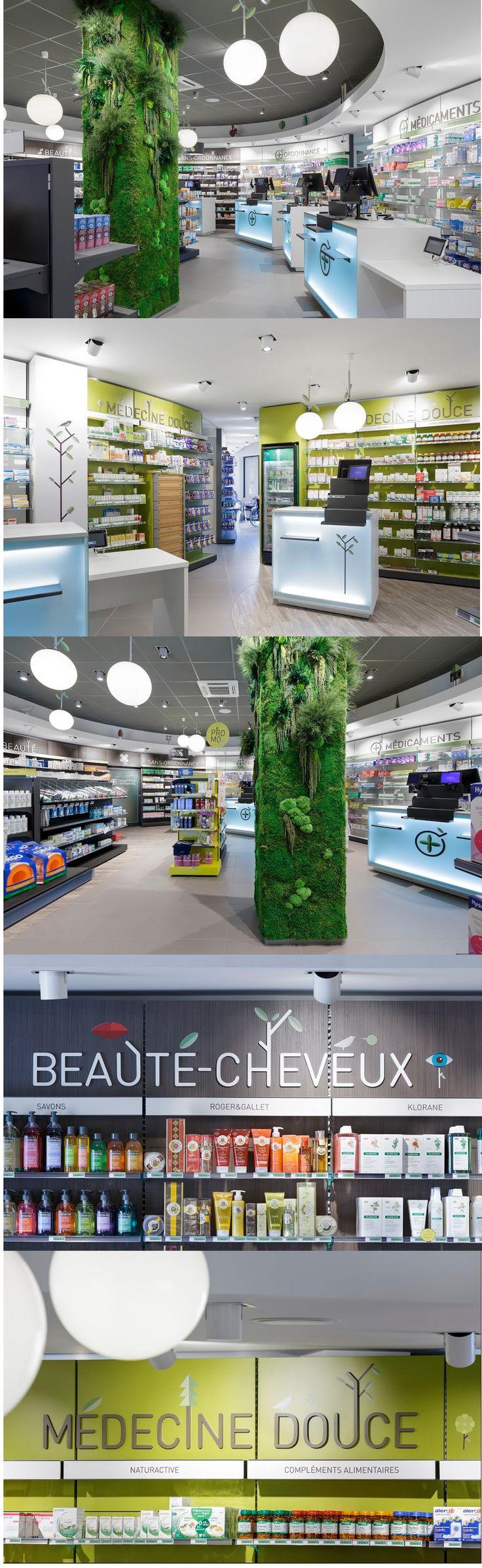 Agencement d'une Pharmacie - #designdespace #signaletique #pharmacie
