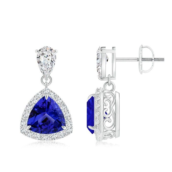 Angara Claw-Set Natural Tanzanite and Diamond Halo Stud Earrings in Rose Gold Y0LimVXdD