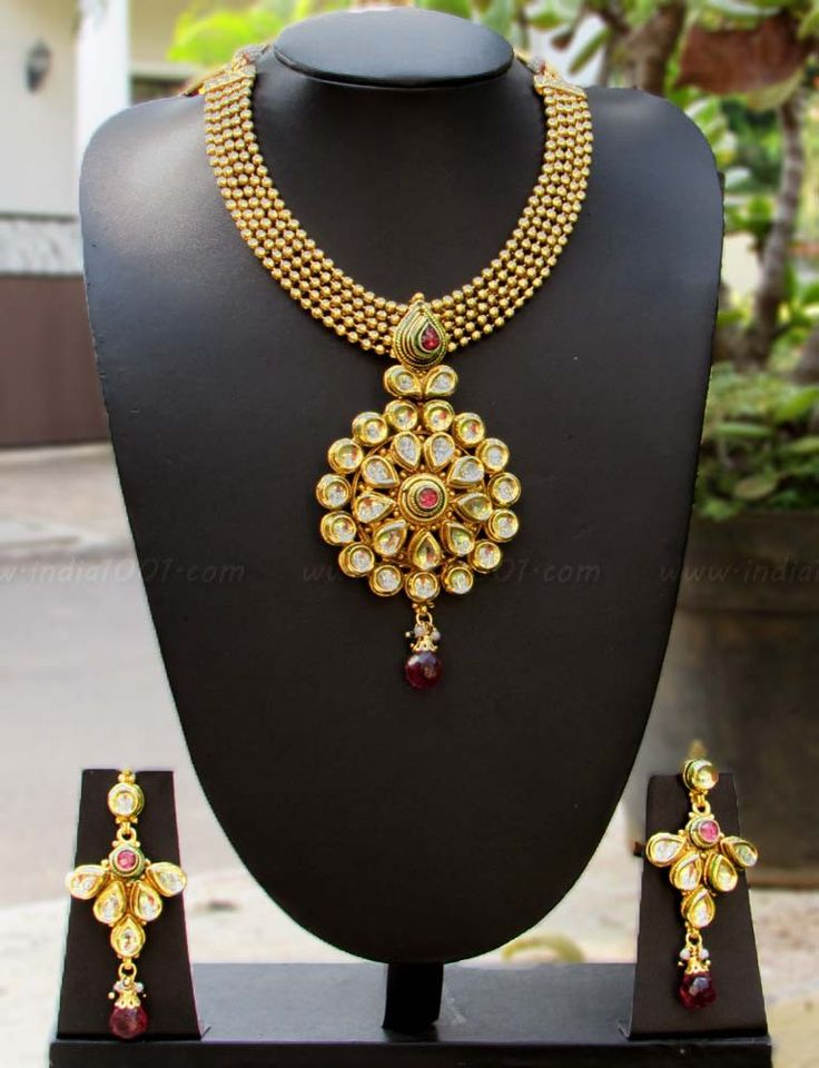 Designer Kundan & Polki Necklace Set – India1001.com