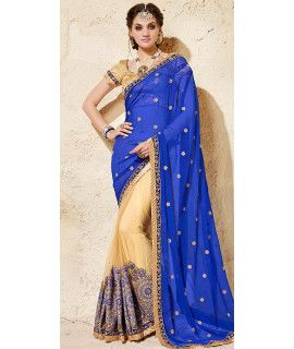Lavish Blue And Cream Net Saree With Blouse.
