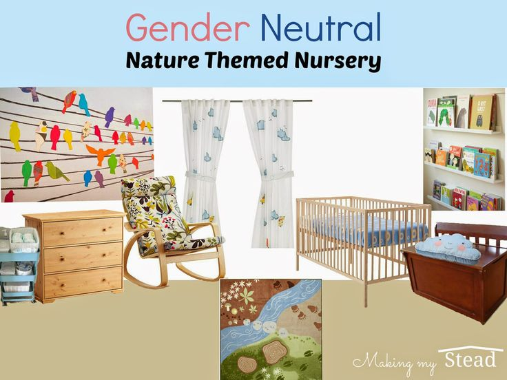 Making My Stead: Gender Neutral Nature Themed Nursery Moodboard and Floorplan - love the birds on wire wall decals!
