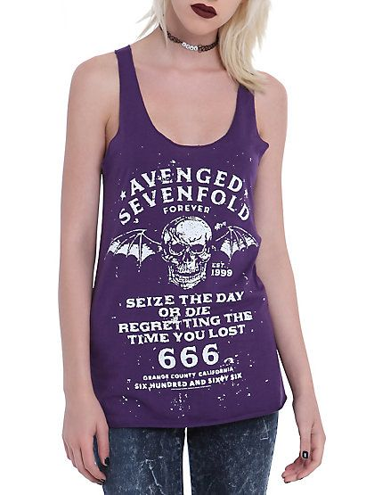 Avenged Sevenfold Six Six Six Girls Tank TopAvenged Sevenfold Six Six Six Girls Tank Top, PURPLE