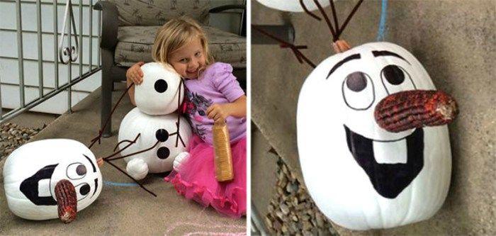 Ideas para decorar calabazas de Hallowen: Olaf Frozen