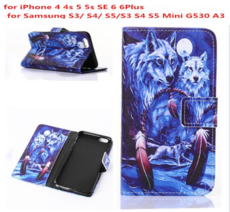 Winter Wolf Wolves Man's Style Flip Leather Wallet Case Cover For iphone 4 4s 5 5s SE 6 6plus / S3 S4 S5 mini G530 G5308 A3 A300
