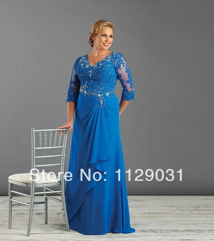 Blue Plus Size Mother Of The Bride/Groom Dresses with Sleeve Ladies Evening Dress Mom Gown shop Custom Size 14 16 18 20 22 24 26