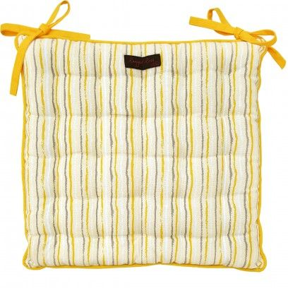 Yellow stripe seat pad perfect for garden or kitchen chair - 100% cotton fabric - Quilt tucked stitching throughout - Extra ties - Size 40cm x 40cm - Suitable for gentle machine wash, do not spin - Co-ordinating table linen and cushions are available
