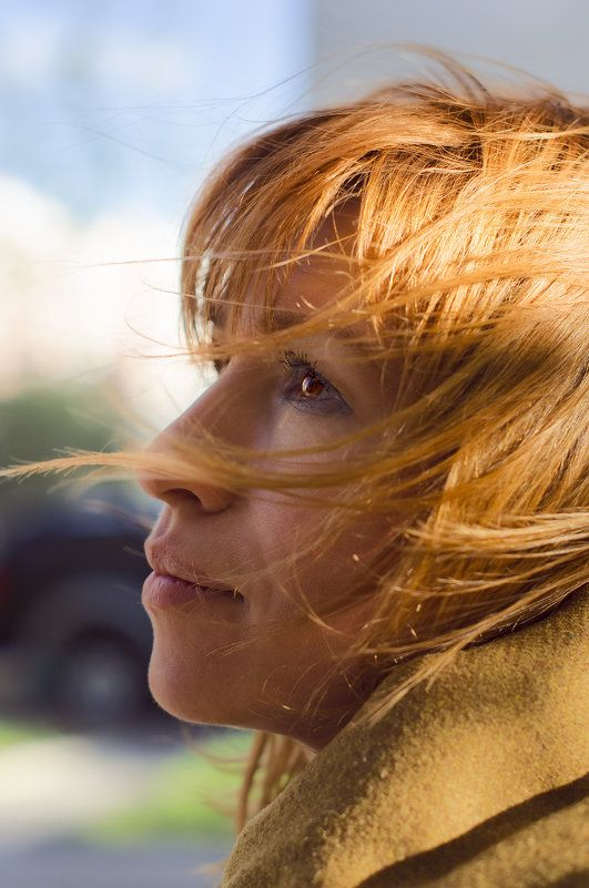 HoneyPhoto, girl, woman, face, profile, red, hair, wind, blows, fine smile, Nikon D7000, Nikkor 50/1.4G