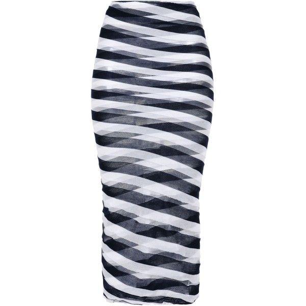 Stella McCartney Navy Transparent Checks Skirt ($670) ❤ liked on Polyvore featuring skirts, coral melange, navy blue skirt, long striped maxi skirt, long tube skirt, sheer maxi skirt and navy stripe maxi skirt